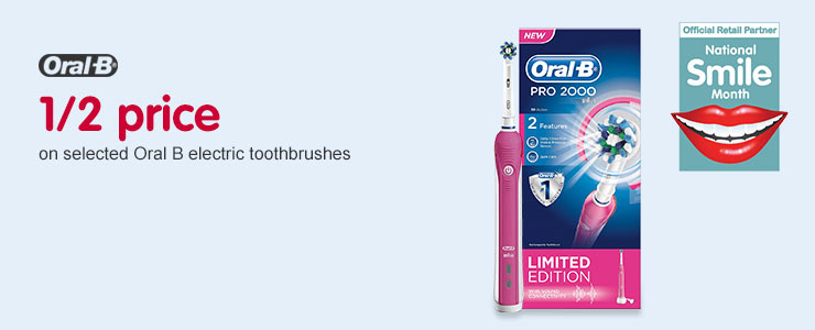 1/2 price on selected Oral-B electric toothbrushes