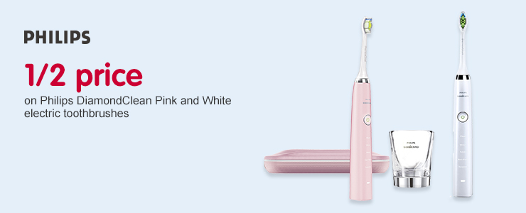 1/2 price on Philips DiamondClean Pink and White electric toothbrushes