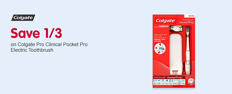 Save 1/3 Colgate Pro Clinical Pocket Pro Electric Toothbrush