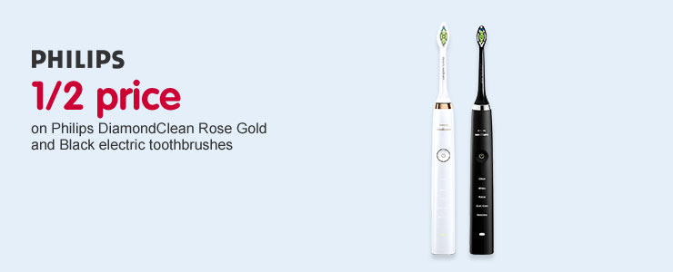 1/2 price on Philips DiamondClean Black and Rose Gold electric toothbrush