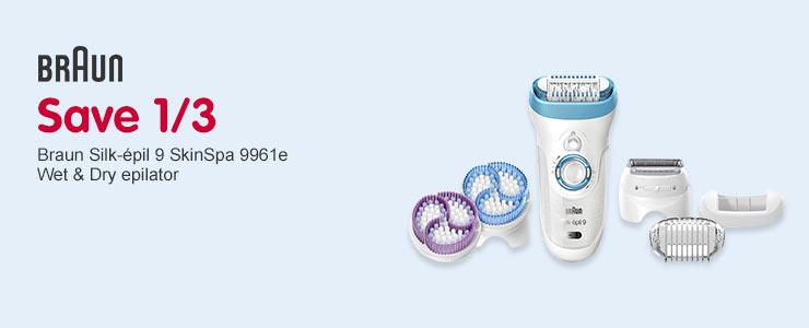 Save 1/3 Braun 9961e Silk Epil Wet & Dry Epilator