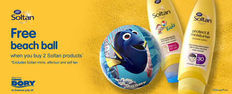 Free beach ball when you buy 2 Soltan products *Excludes Aftersun, Self Tan & Minis