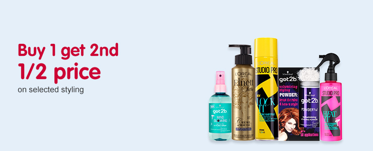 Buy 1 get 2nd 1/2 price on selected hair styling