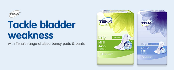 Tackle bladder weakness with Tena's range of absorbency pads & pants