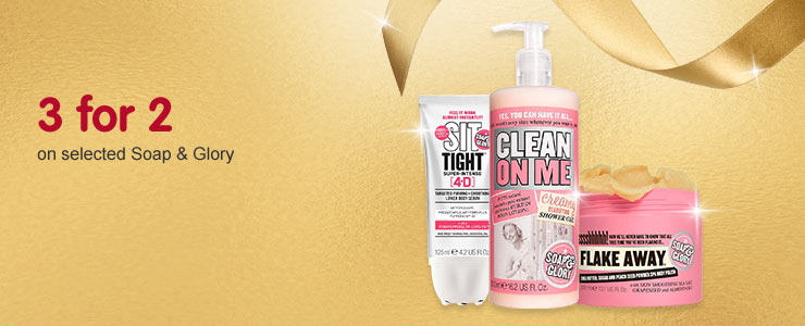 3 for 2 on selected soap and glory products
