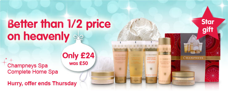 Better than 1/2 price on heavenly. Champneys Spa Complete Home Spa. Only £24, was £50.