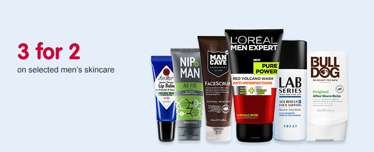 3 for 2 on selected Men's Skincare