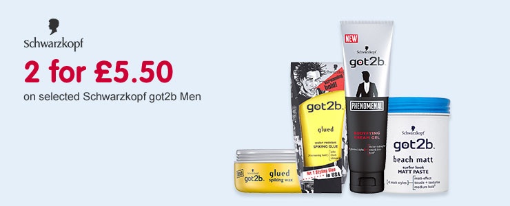 2 for £5.50 on selected Schwarzkopf got2b Men