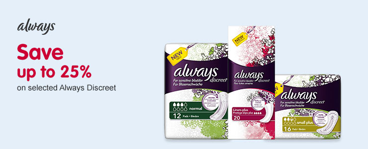 Save up 25% on selected Always Discreet