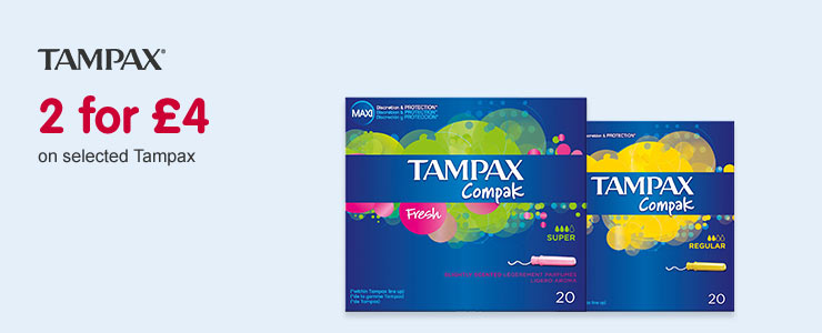 2 for £4 on selected Tampax