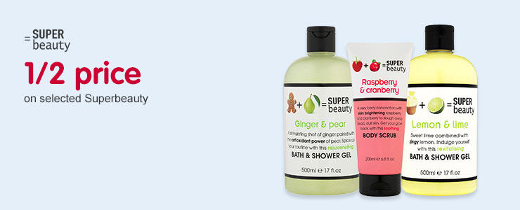 Save up to 1/2 Price on selected Super Beauty