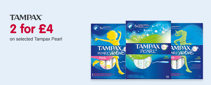 2 for £4 on selected Tampax Pearl