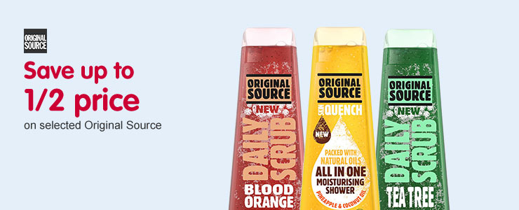 Save up to 1/2 price on selected Original Source