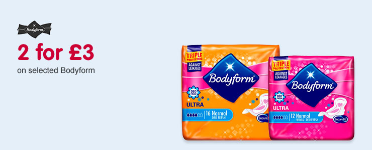 2 for £3 on selected Bodyform