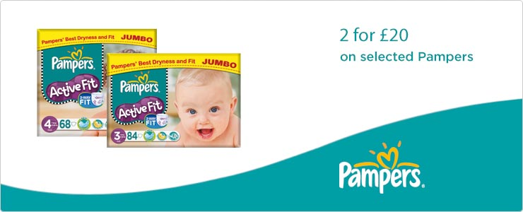 2 for �20 on selected Pampers