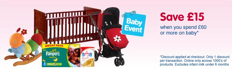 Save £15 when you spend £60 or more on baby - discount applied at checkout