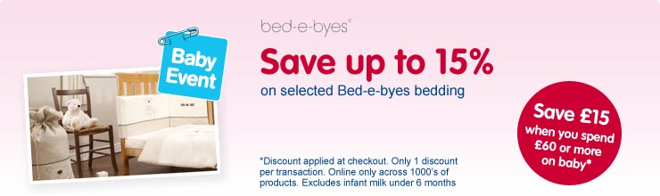 Save up to 15% on selected bed-e-byes bedding