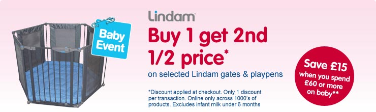 Buy 1 get 2nd 1/2 price on selected Lindam safety gates