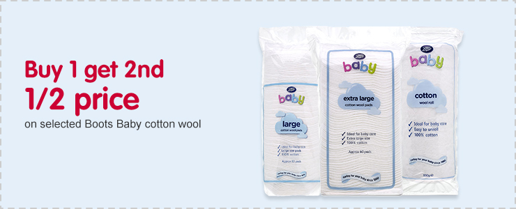Buy 1 get 2nd 1/2 price on selected Boots Baby cotton wool