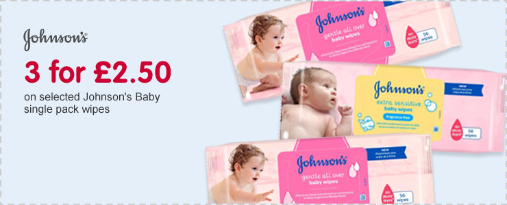 3 for £2.50 on selected Johnson's Baby single pack wipes