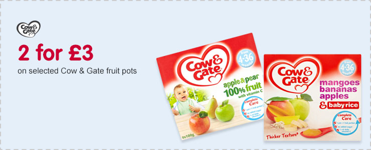 2 for £3 on Cow and Gate fruit pots