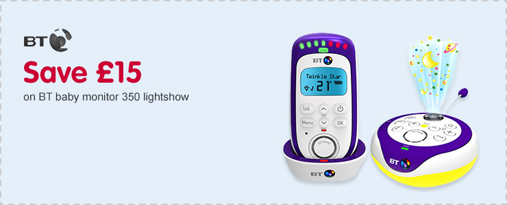 Save £15 on BT baby monitor 350 lightshow