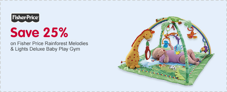 Save 25% on Fisher Price Rainforest Melodies & Lights Deluxe Baby Play Gym
