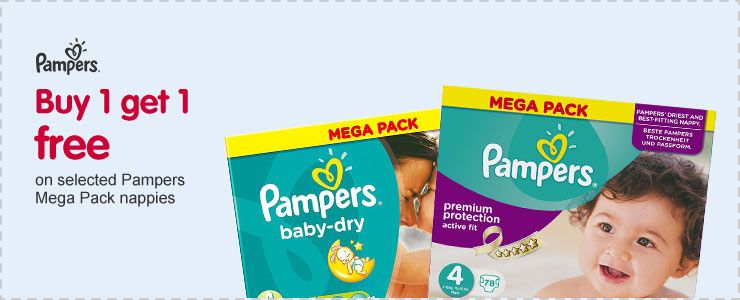 Buy one get one free on selected Pampers Mega Pack Nappies