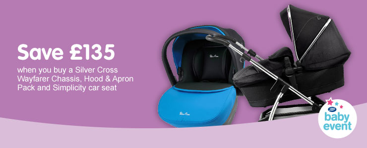 Save £15 oSave £135 when you buy a Silver Cross Wayfarer Chassis, Hood & Apron Pack & Simplicity Car Seatn Chicco Close to You Carrier
