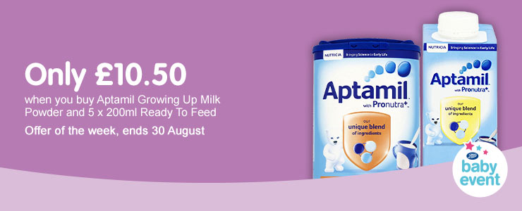 Only £10.50 when you buy 5 aptamil ready to feed and GUM milk