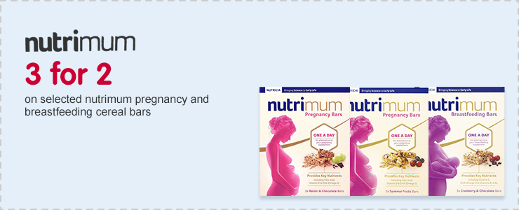 3 for 2 on selected Nutrimum pregnancy & breastfeeding cereal bars