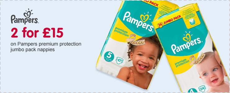 2 for £15 on Pampers Premium Protection jumbo pack nappies