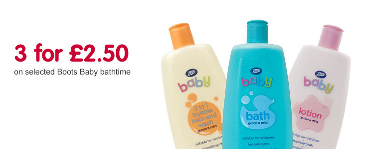 3 for £2.50 on Boots Baby bathtime 500ml
