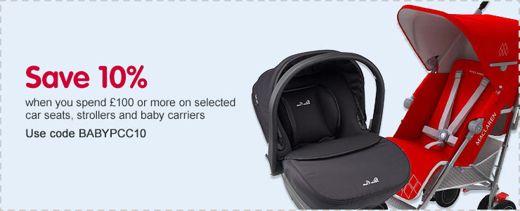 Save 10% when you spend £100 or more on selected car seats, strollers and baby carriers. Use Code BABYPCC10
