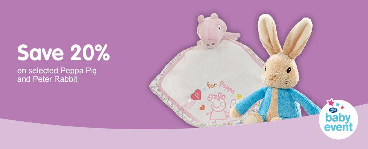 Save 20% on selected Peppa Pig and Peter Rabbit