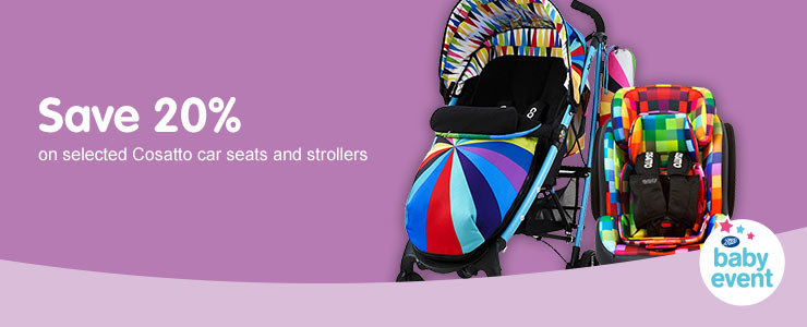 Save 20% on selected Cosatto Carseats & Strollers