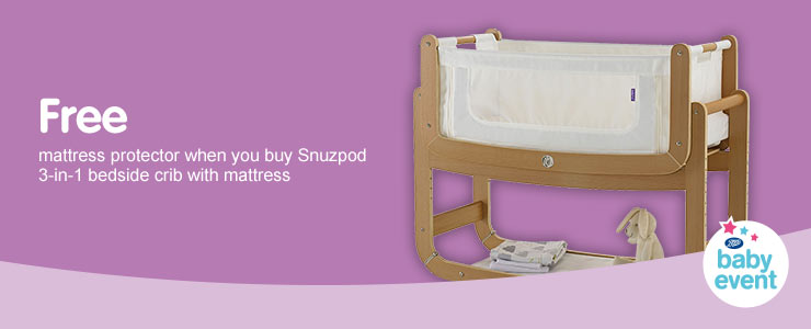 Free Mattress Protector when you buy Snuzpod 3-in-1 bedside crib with mattress