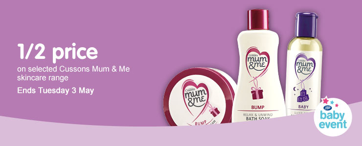 Half price on selected Mum and Me skincare range. Ends Tuesday 3rd May