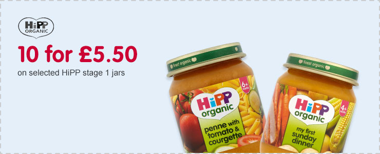 10 for £5.50 on selected HiPP stage 1 jars
