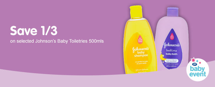 Save 1/3 on selected Johnson's Baby 500mls
