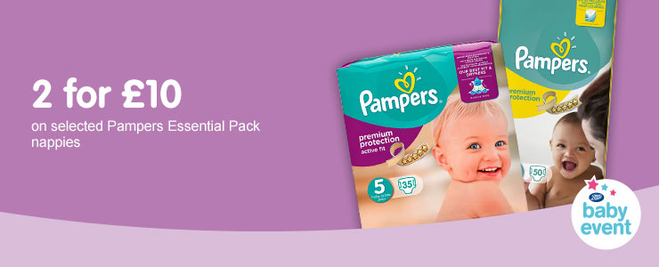 2 for £10 on selected Pampers Essential nappies