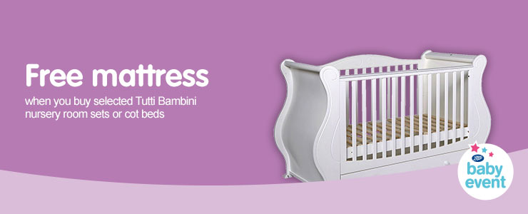 Free Mattress when you buy selected Tutti Bambini Nursery Room Sets or Cot Beds