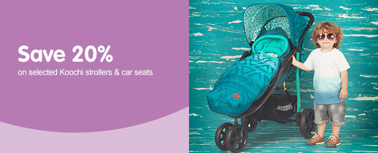 Save 20% on selected Koochi strollers & car seats