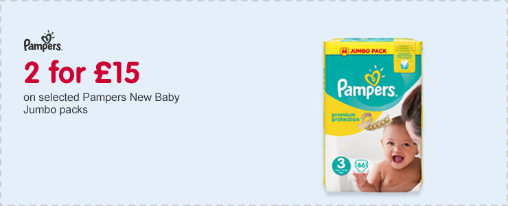 2 for £15 on selected Pampers New baby Jumbo Packs