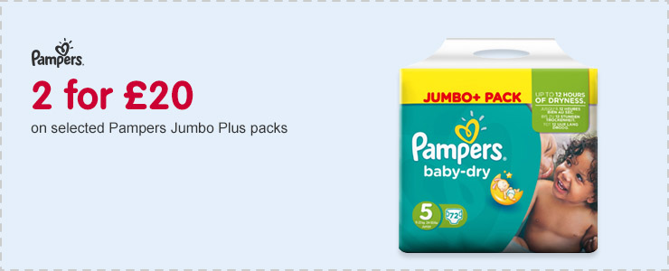 2 for £20 on selected Pampers Jumbo Plus packs