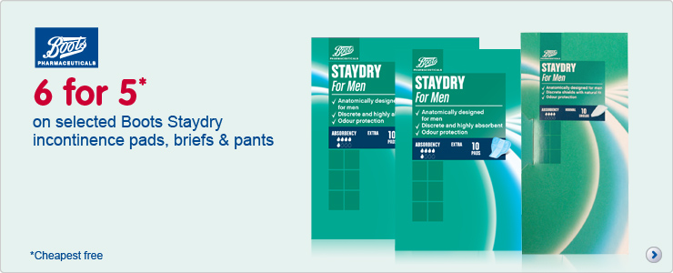 Six for five on selected Boots Staydry incontinence pads, briefs and pants