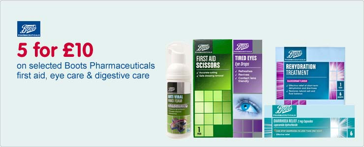 Five for ten pounds on selected boots pharmaceuticals first aid, eye care and digestive care