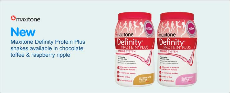 New Maxitone Definity Protein Plus shakes available in chocolate toffee and raspberry ripple