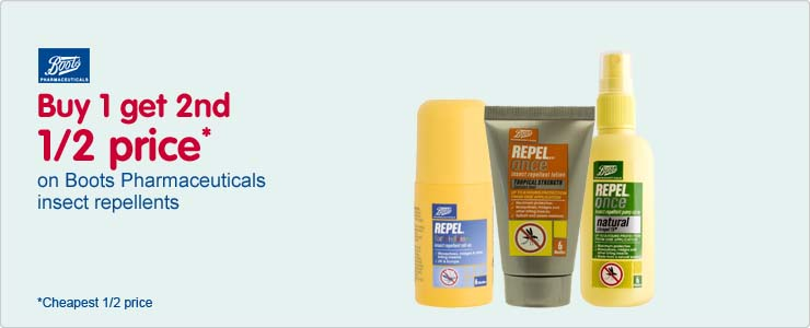Buy one get second half price on boots pharmaceuticals insect repellents