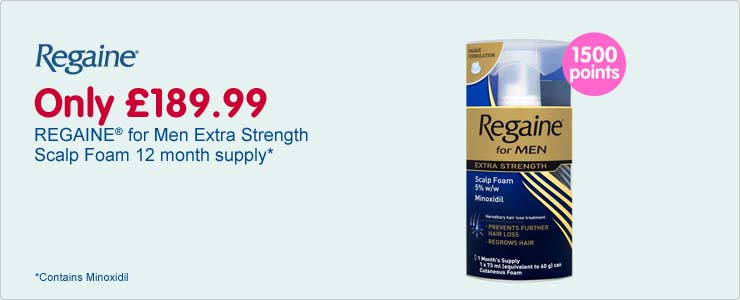 Regaine for men extra strength scalp foam twelve month supply, only one hundred and eighty nine pounds and ninety nine pence